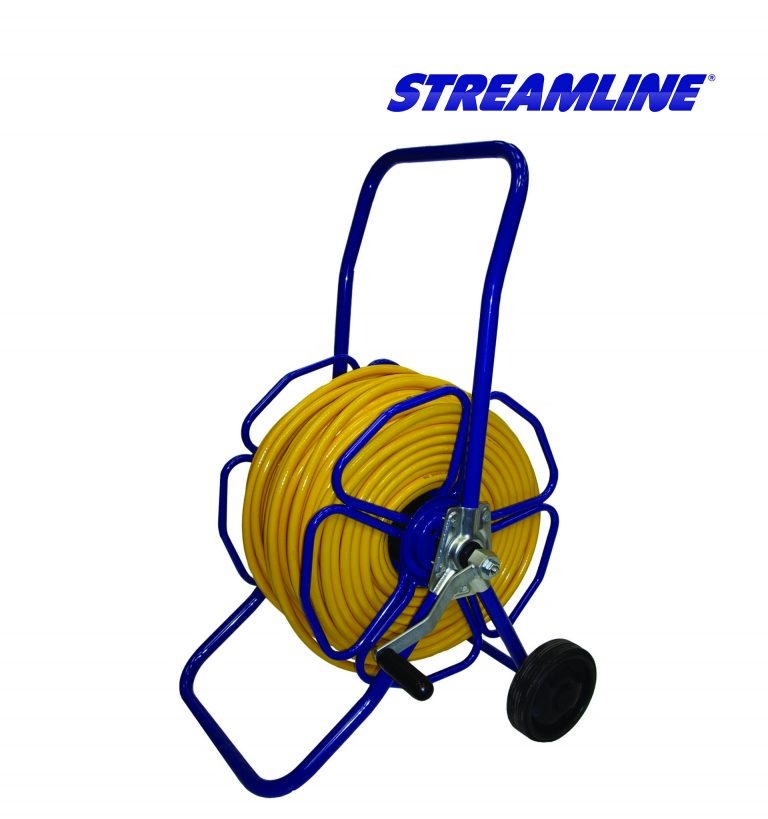 Wheeled metal hose reel - HRM4, complete with 100mtr of 8mm hose and couplings