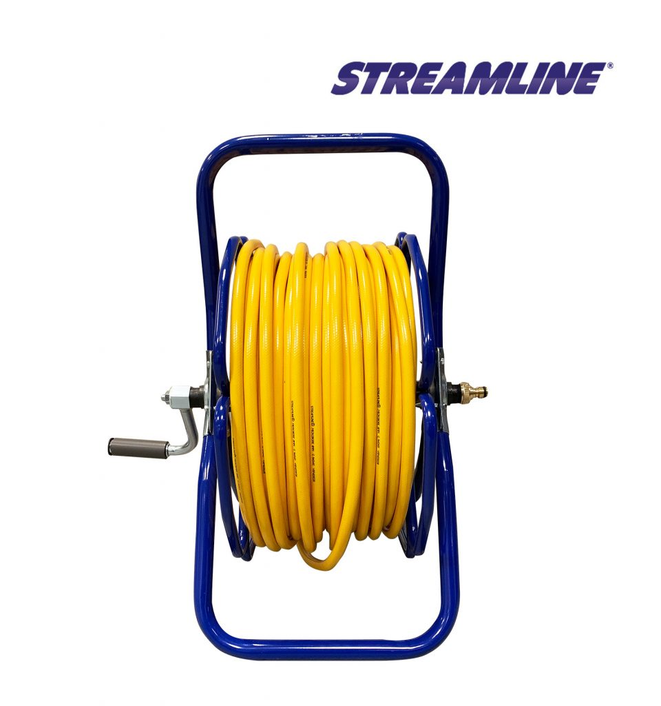 Freestanding metal hose reel – HRM2, complete with 100mtr of 8mm hose and couplings